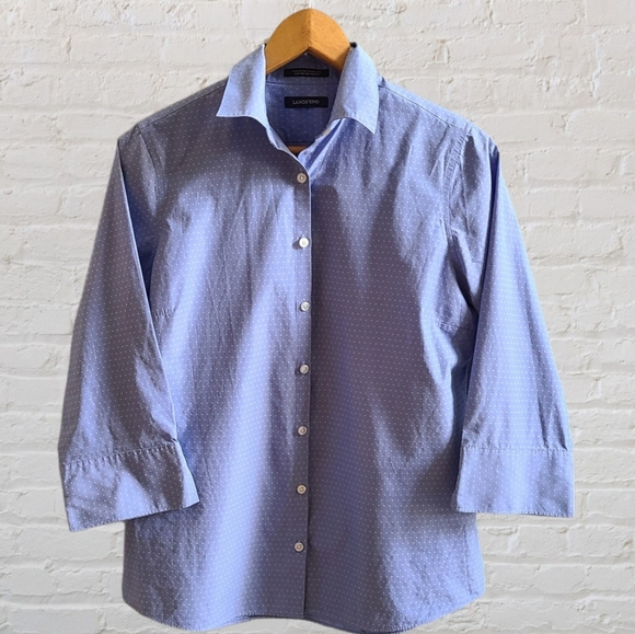 Land's End Blue Button Down Blouse 3/4 Sleeves
